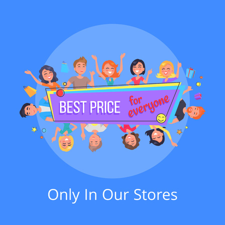 Best Offer for Everyone Promotional Poster People  イラスト・ベクター素材