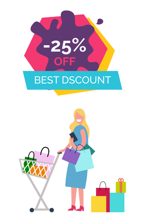 -25 off best discount promotional banner depicting woman standing with cart and bags in it, icons on vector illustration isolated on white Illusztráció
