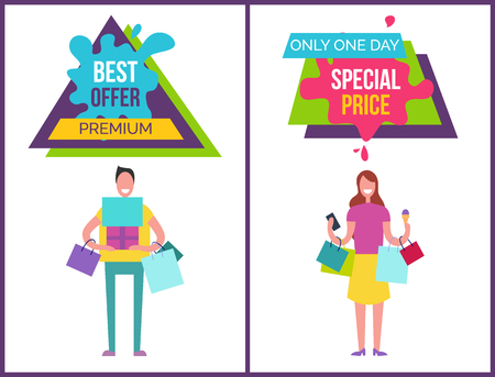 Best offer premium only one day price, banners collection with triangle and rectangular labels, text sample and images vector illustration Иллюстрация