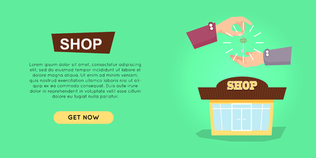 Buying shop online property selling web banner vector illustration. Advertising real estate e-commerce concept. Getting new key of beautiful shop. Business agreement of opening own business.
