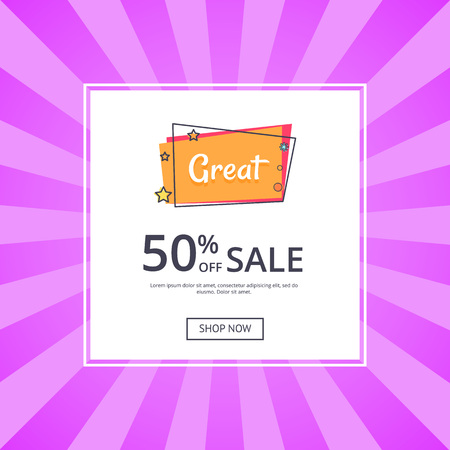 Great sale 50 off shop now inscription with stars vector illustration in white frame isolated on purple. Template with text, good proposal