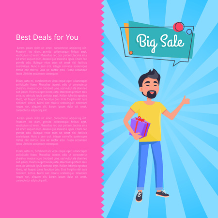 Best deals for you big sale poster. Man with beard holds box in hands and dreaming about cheap presents and low prices vector illustration with text