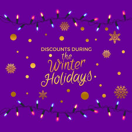 冬休み中の割引 雪玉と黄金の円電球ベクトルイラストは紫色の背景に隔離