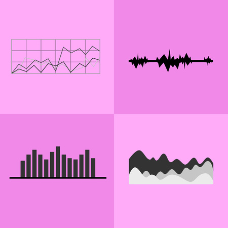 Line and bar graphs icons with vertical and horizontal axises, coordinate systems with grids and charts vector illustration isolated on pink background