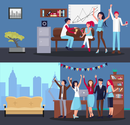 People Partying at Office on Vector Illustration