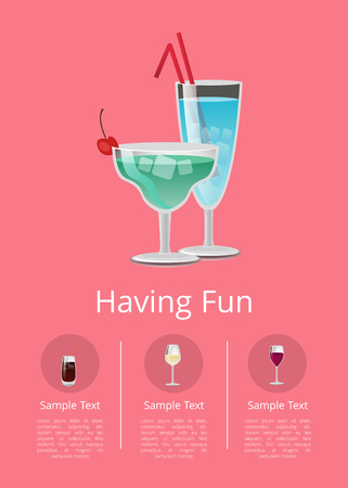 Having fun summer alcohol drinks advert poster with cocktails in martini glass, with straw decorated by cherry vector illustration menu list in buttons