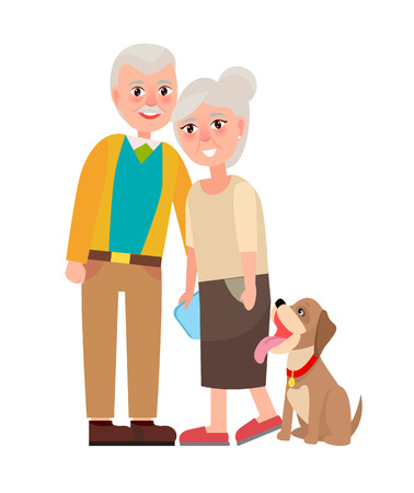 Grandmother and Grandfather with Pet Isolated