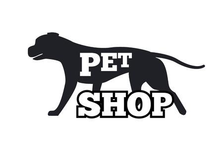 Pet Shop logo ontwerp Canine dieren silhouet