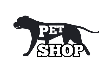 Pet Shop Logotype Design Canine Animal Silhouette Ilustracja