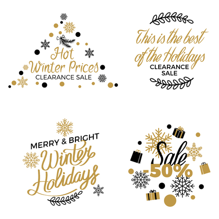 Winter holidays discount concepts set with snowflakes, hearts, gifts in black and gold colors with elegant lettering on white. Christmas, New Year and Valentines sales with gilded elements Çizim