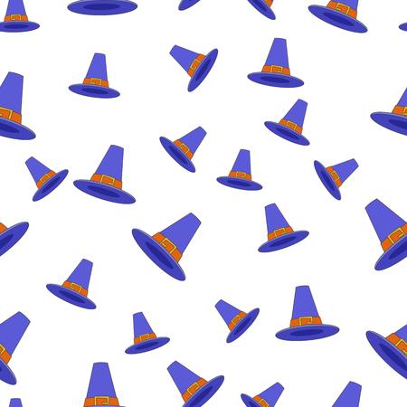 青い巡礼者の帽子シームレスなパターン。白い背景にバックルフラットベクトルと感謝祭のコッケル帽子。アメリカ人は、包装紙、生地にプリント  イラスト・ベクター素材