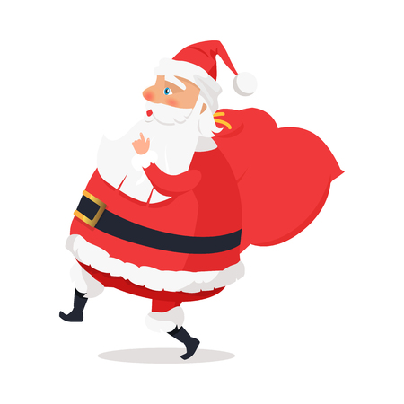 Isolated Side View Santa Claus on White Background