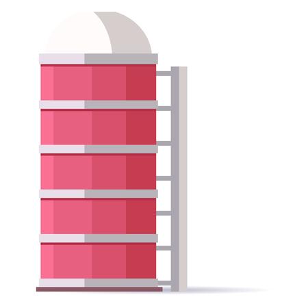 給水塔は、高架水槽、高さは、白で隔離パイプ システムを通して水を配布するために必要な圧力を作成を支援します。モバイル アプリケーションの  イラスト・ベクター素材