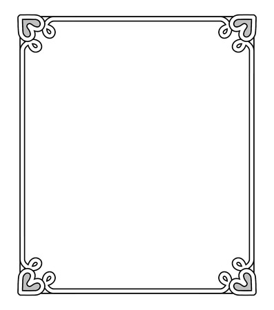 Frame with heart-shaped figures at each corner on top and on bottom, empty inside of it vector illustration isolated on white background