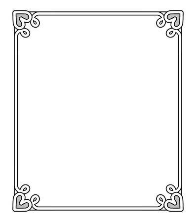 Frame met hartvormige figuren op elke hoek aan de boven- en onderkant, lege binnenkant van het vector illustratie geïsoleerd op een witte achtergrond