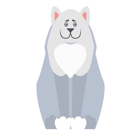 행복 한 귀여운 개가 웃 고 총구 평면 벡터 흰색 배경에 고립 웃 고 앉아. 동물 친구 및 동반자 개념, 상점 광고에 대 한 사랑스러운 순종 애완 동물 그 일러스트