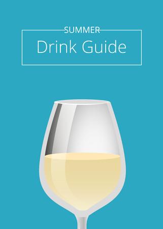 Cartel de publicidad de verano Drink Guide con vidrio Foto de archivo - 91263483