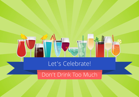 Lets celebrate don t drink too much set of drinks cocktails wine and champagne beverages in glasses vector illustrations on green background with rays