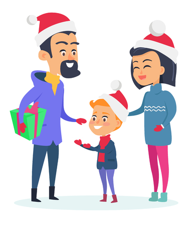 Happy family in warm clothes on white background. Vector illustration of small family with son who wear Christmas red hats. Father holds big box with present. Child getting adorable gift in flat Illustration