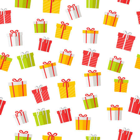 Colorful giftboxes cartoon seamless pattern. Wrapped boxes with stripes and bows flat vector isolated on white background for gift wrapping paper, greeting cards, invitations, print design