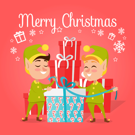 Two happy elves with big present worn in green with yellow costumes and hat. Vector illustration of pixies with gift pack for children. Pattern of candies on box with blue ribbon Illustration