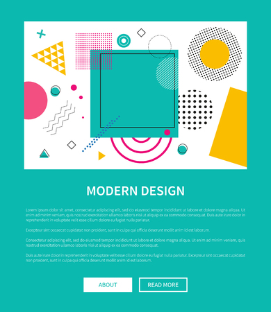 Modern Design of Web Poster with Buttons Vector Illustration