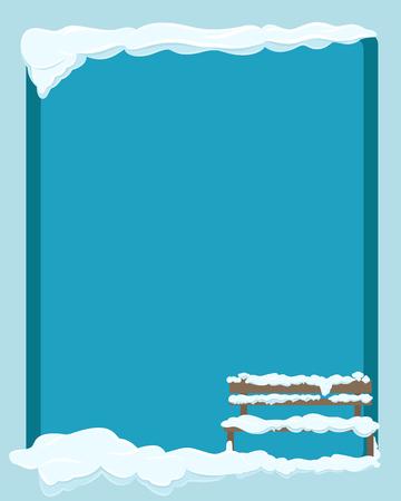 青の背景に分離された積雪下でベンチ。