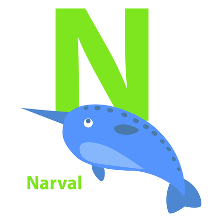 Lime green letter N Narval on kid education card. Big blue fish with sharp nose and small fins isolated on white background. Cartoon drawing vector illustration of funny baby alphabet graphic poster.