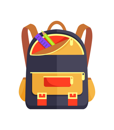 Backpack for Kid with School Stationery Accessory Illustration