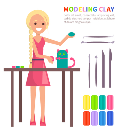 Modeling Clay Banner with Woman Making Cat Vector Ilustração