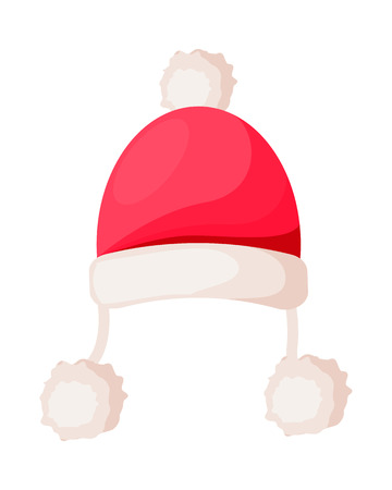 Santa Claus Hat with Strings Ending in Pompoms
