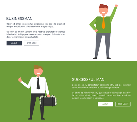 Success-Related Set of Banners with Smiling Man