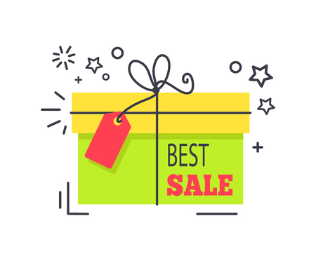 Special offer promo sticker with shopping packed box, advertisement logo design with sale proposal vector illustration badge label with text isolated  イラスト・ベクター素材