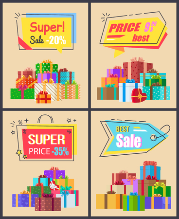 Super sale last price collection of labels with percent signs, vector promo posters with wrapped gift presents, clearance of new arrivals vector set Illustration