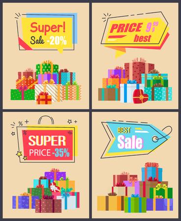 Super vendita collezione di etichette dell'ultimo prezzo con segni di percentuale, manifesti promozionali vettoriali con regali regalo incartati, liquidazione di nuovi arrivi set vettoriale Archivio Fotografico - 91267061
