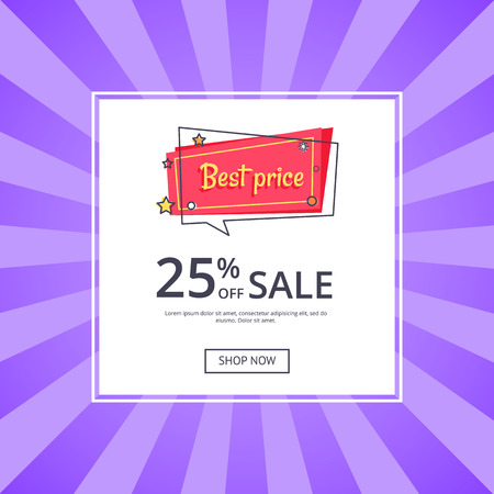 Best Price 25 Percent Off Sale Proposition Banner Illustration