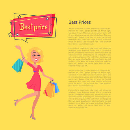 Best prices poster with place for text depicting woman with shopping bags in hands, dressed in red gown, speech bubble above head vector on yellow