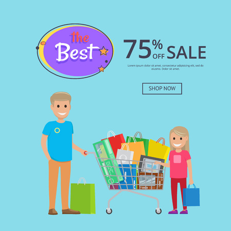 Best sale 75 off online shopping poster with text shop now. Father and daughter making buys trolley cart full of bags, vector illustration Illustration