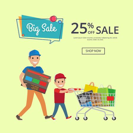 プレゼントやバッグでいっぱいのトロリーカートで買い物をする父と息子、テキストベクトルイラストの場所を持つウェブバナーの25%の大セール