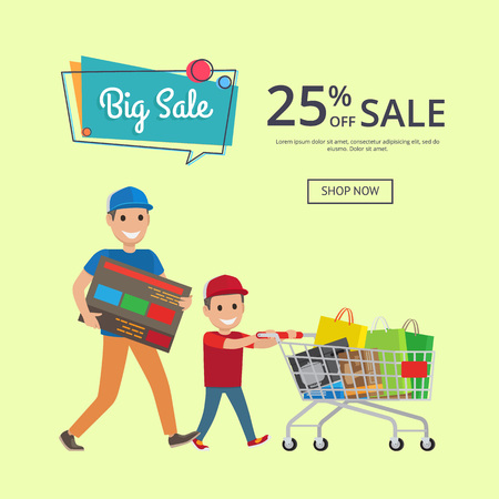 Father and son making shopping with trolley cart full of presents and bags, big sale 25 percent of web banner with place for text vector illustration