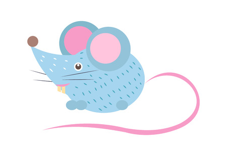 Closeup of blue mouse with long pink tail and two big teeth illustration.