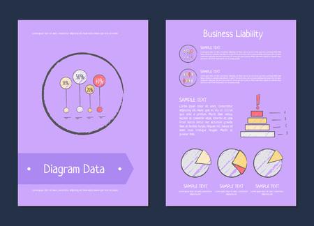 Diagramgegevens illustratie bedrijfsaansprakelijkheidsmethoden.