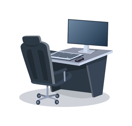 Desk with Computer and Chair Vector Illustration Illustration
