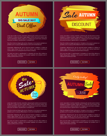 Autumn sale best offer discounts only today premium choice 2017 off set of vector posters with text online web pages with color fall hanging labels