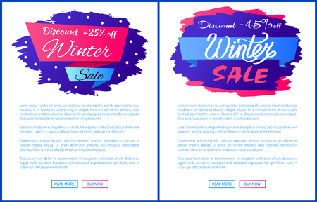 Winter Discount Clearance Vector Illustration Set