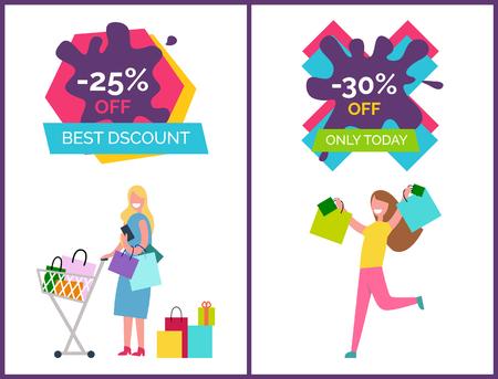 -25 Off Best Discounts Today Vector Illustration Çizim