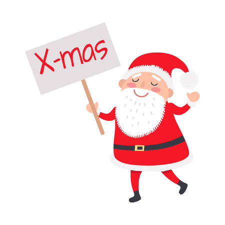 Santa Claus with X-mas poster on white illustration.