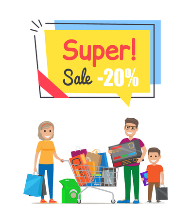 Super Sale with 20 Off Promo Poster with Family