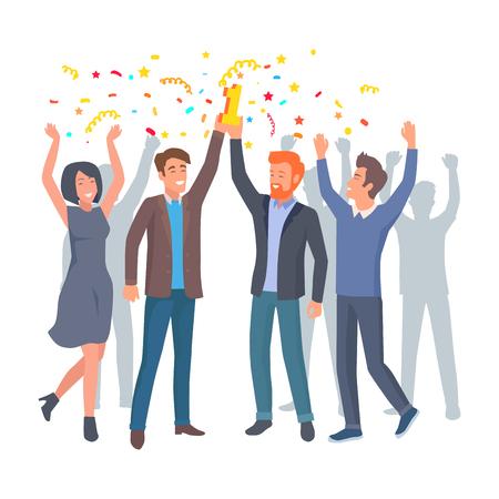 同僚のチームがスタートアップベクトルでの勝利を祝う