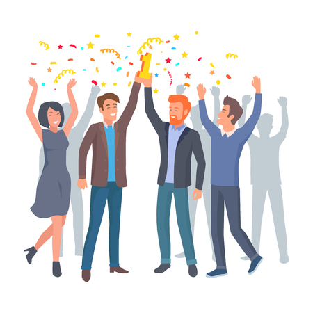 Team of Colleagues Celebrate win in Startup Vector